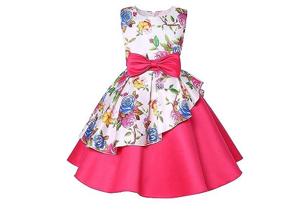 bf05ab0f6f5d LLQKJOH Girl Dress Kids Ruffles Lace Party Wedding Bridesmaid Dresses
