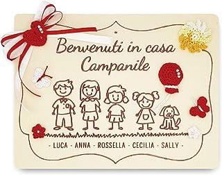 Crociedelizie, Idea regalo benvenuto targa personalizzata componenti famiglia personalizzabile nomi papà mamma figli cani ...
