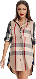 Acloth Women's Plaid Button Down Blouse Roll-up Sleeve Boyfriend Shirt Loose Tops with Pocket