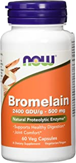 NOW Supplements, Bromelain (Natural Proteolytic Enzyme) with 2400 GDU, 500mg, 60 Veg Capsules
