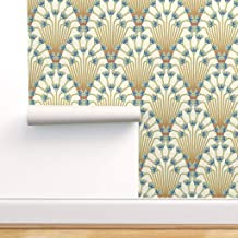 Removable Water-Activated Wallpaper Art Deco 1920 Teal Navy 1920S Geometric Tile