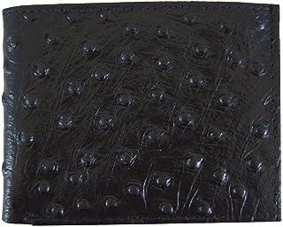 本革二つ折りオストリッチスキンプリントカードウォレット ブラック リアルウォレット