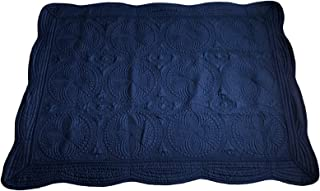 MONOBLANKS Cotton Baby Quilt Personlized Monogram Lightweight Embossed Scalloped Throw Blanket Four Seasons (Navy)
