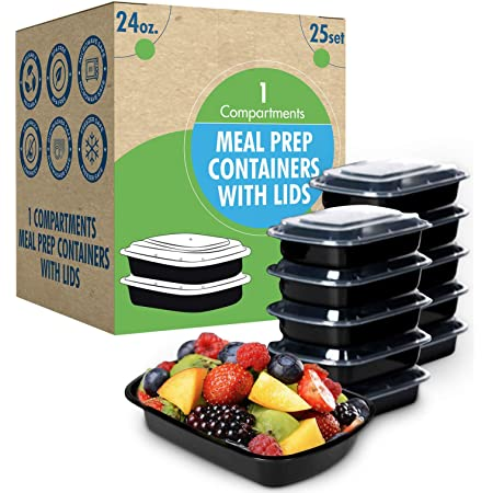 [25 Set] 24oz. Meal Prep Containers with Lids Ideal-Lunch Containers, Food Prep Containers, Food Storage Bento Box, Portion Control   Stackable   Microwave   Dishwasher   Freezer Safe Compartment.