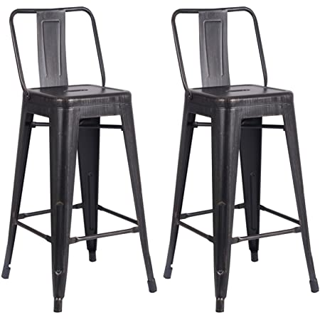 Amazon Com Ac Pacific Modern Light Weight Industrial Metal Bucket Back Barstool 30 Seat Height Counter Stool Set Of 2 Distressed Black Finish Furniture Decor