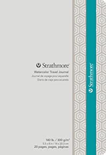 """Strathmore 500 Series Watercolor Travel Journal, Cold Press, 5"""" x 8"""", 20 pages, White"""