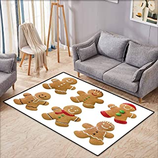 Pet Rug,Gingerbread Man Vivid Homemade Biscuits Sugary Xmas Treats Sweet Tasty Pastry,Extra Large Rug,5'6