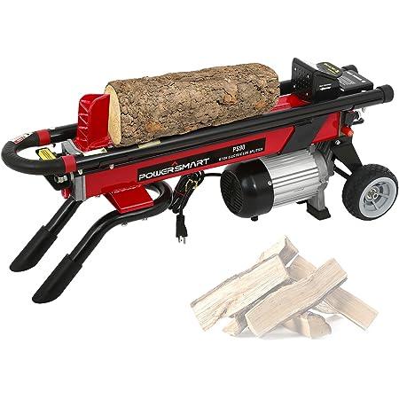 PowerSmart Log Splitter Electric, 6-Ton Hydraulic Log Splitter, 15 Amp Electric Log Splitter, Electric Wood Splitter, Horizontal Full Beam with Steel Wedge for Firewood Splitter Kindling Splitter