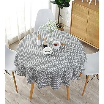 meioro Manteles Mantel Redonda Cubierta de Mesa de Lino de algodón Redondo Manteles de Sarga Simples Adecuado para la decoración de cocinas caseras, Varios tamaños(Gris,150cm de diámetro): Amazon.es: Hogar