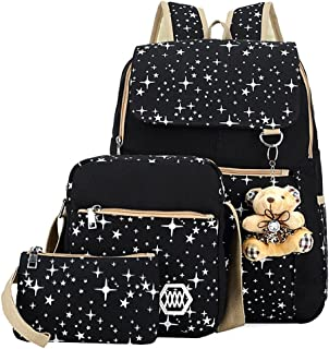 School Bag 3 Sets Canvas Backpack Galaxy Star Patterned Bookbag for Girls