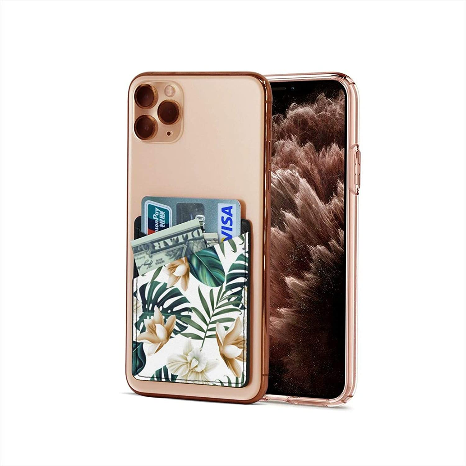 Cell Phone Card Holder, Phone Pocket Stick On Cell Phone Wallet Sleeve for Credit Card, Business Card Id and Keys Palm Banana Leaves
