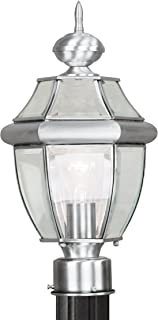 Livex Lighting 2153-91 Outdoor Post with Clear Beveled Glass Shades, Brushed Nickel