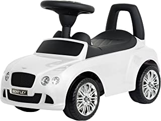 EVEZO Bentley Continental Gt Speed, Ride-On Toy Car for Kids, Full Steering, Adult Push, Licensed (White)
