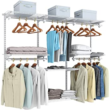 Tangkula 4 to 6 FT Custom Closet Organizer System, Wall Mounted Closet System with Hanging Rod, Metal Hanging Storage Organizer Rack Wardrobe with Shelves, Adjustable Closet Organizer Kit for Bedroom