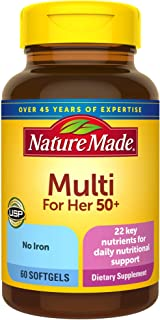 Nature Made Women's Multivitamin 50+ Softgels with Vitamin D, 60 Count for Daily Nutritional Support