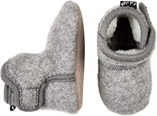 CeLaVi 100% Wool-Faux-Fur Lined Indoor House Slippers Booties - Boy Girl Child - Leather Sole