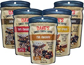 Dave's Sweet Tooth Toffee Variety Pack, Milk Chocolate, Dark Chocolate, Coffee, Peanut Butter, Dark Chocolate Cherry Flavors, 4oz Resealable Bag, 5 Pack