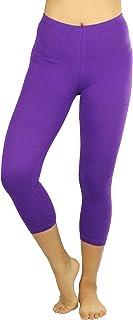 ToBeInStyle Women's Seamless Cotton Stretchy Band Yoga Activewear Capri Leggings