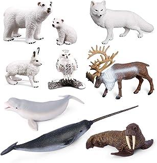 Sea Creature Toys VOLNAU 9PCS Arctic Circle Ocean Sea Animals Figurines for Toddlers Kids Christmas Birthday Gift Plastic ...