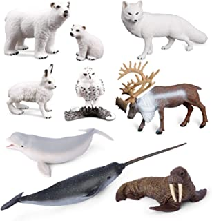 Volnau Sea Creature Toys 9PCS Arctic Circle Ocean Sea Animal Figurines for Toddlers Kids Plastic Fish Toys Figures Preschool Pack and Bath Sets Polar Bear, BPA Free