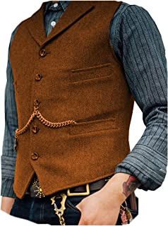 Lovee Tux Men's Herringbone Vest Foraml Business Notch Lapel Suit Vest Wool/Tweed Waistcoat for Weddding