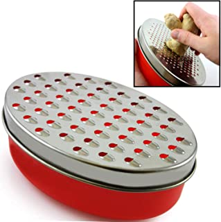 Cheese Grater Citrus Lemon Zester with Food Storage Container & Lid - Perfect For Hard Parmesan Or Soft Cheddar Cheeses, Ginger, Vegetables, Butter, Chocolate & Nutmeg (Red)