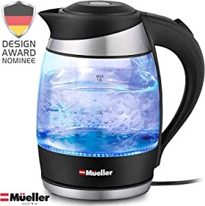Mueller Premium 1500W Electric Kettle with SpeedBoil Tech, 1.8 Liter Cordless with LED Light, Borosilicate Glass, BPA-Free with Auto Shut-Off and Boil-Dry Protection