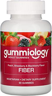 Gummiology Adult Fiber Gummies, Natural Peach, Strawberry, & BlackBerry Flavors, 90 Vegetarian Gummies