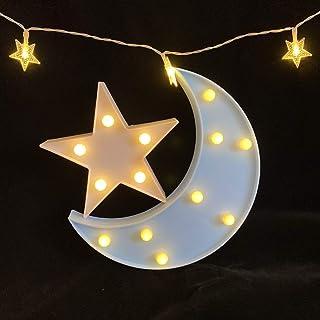 Decorative Moon-star Night Light,Cute LED Nursery Night Lamp Gift-Marquee Moon-star Sign..