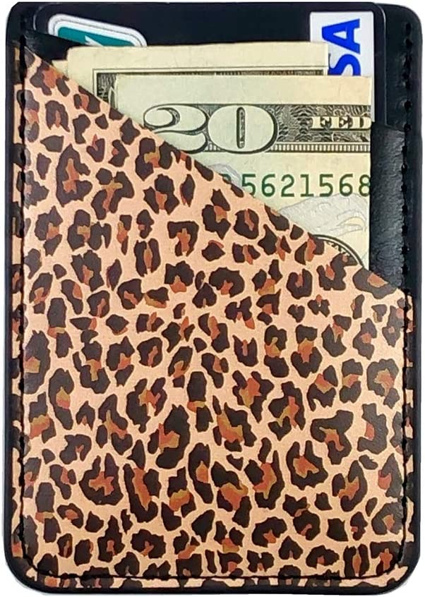 CalorMixs Leopard Credit Card Holder for Back of Phone Adhesive Cell Phone Pocket Stick On Wallet Holder Phone Pocket Pouch Sleeves for iPhone,Samsung Android and All Smartphones
