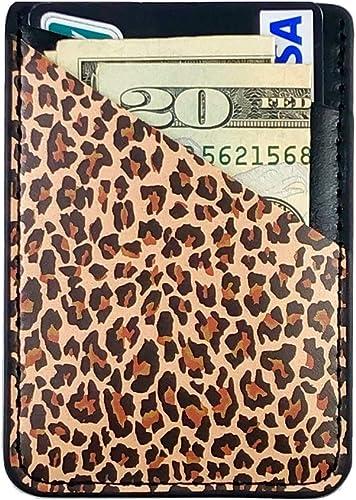 CalorMixs Leopard Credit Card Holder for Back of Phone Adhesive Cell Phone Pocket Stick On Wallet Holder Phone Pocket...