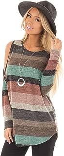 Long Sleeve Striped Stripe Contrast Color Colorblock Cold Open Shoulder Curved Hem Blouse Shirt T-Shirt Tee Top