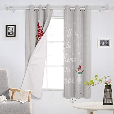 OneHoney Blackout Curtains for Bedroom Funny Gnome Snowman Grommet Thermal Insulated Window Treatments Christmas Words Gray H