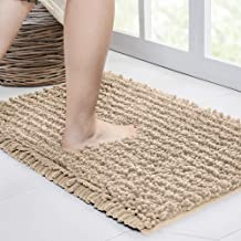 Walensee Bathroom Rug Non Slip Bath Mat (24x17 Inch Beige) Water Absorbent Super Soft Shaggy Chenille Machine Washable Dry...