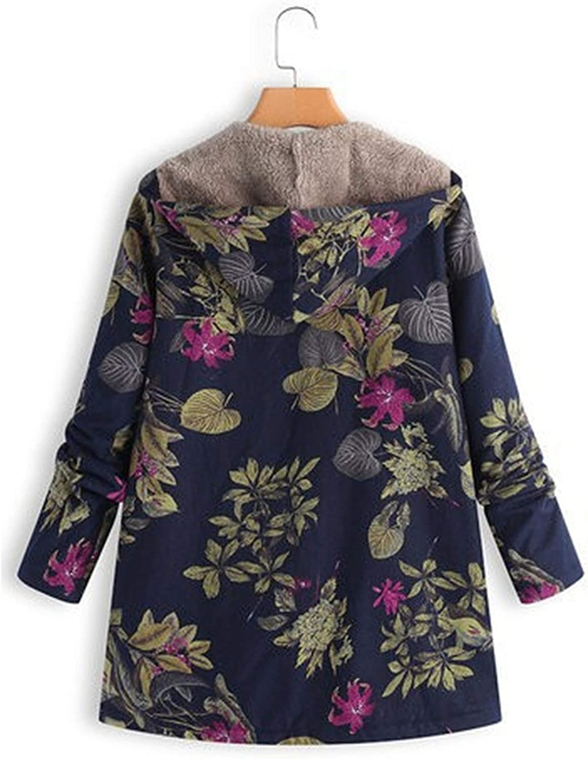 Andongnywell Everyday Floral Print Hooded Cotton Coat Floral Print Hooded Pockets Long Sleeve Vintage Jacket