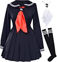Classic Japanese School Girls Sailor Dress Shirts Uniform Anime Cosplay Costumes with Socks Set