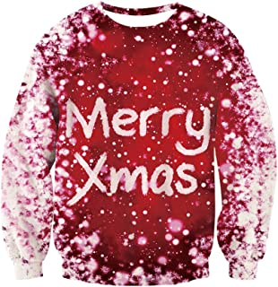 TUPOMAS Men Women Ugly Christmas Sweatshirts Unisex 3D Print Sweater Shirt Pullover Crewneck Funny Xmas Party Wear