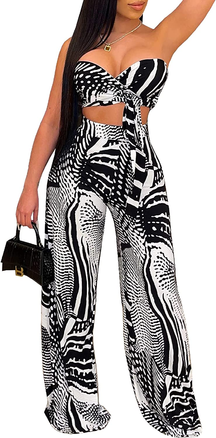 Boho 2 Piece Outfits for Women Wide Set Strap Crop lowest Translated price Top Leg Pants