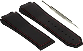 g24 19mm x 28mm Compatible Black F1 King Power Watch Band Strap for 24mm Buckle with Red Stitching - Free Tool