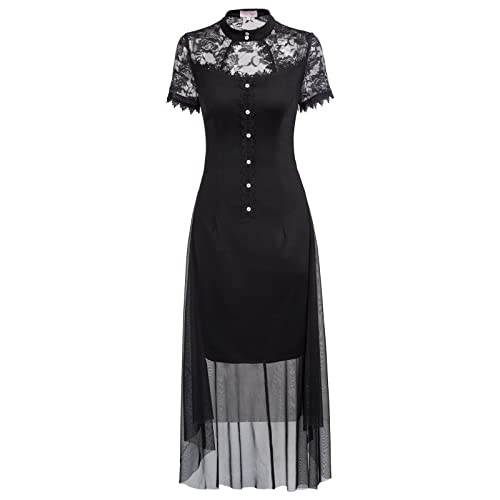 Belle Poque Women s Short Sleeve Gothic Victorian High-Low Tulle Netting  Dress e6f4bc7fbfc1