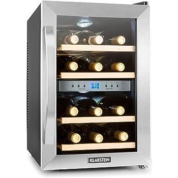 Klarstein Reserva - Cave à vins, Cave à vin réfrigérante, Capacité de 34 litres, 12 bouteilles, 4 étagères amovibles, Commande intuitive, Température réglable, 7 à 18 °C, Noir-Argent