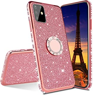 LEMAXELERS Compatible with Oppo A52 2020 Case Glitter Bling Diamond TPU Soft Shock-Absorption Protective with 360 Rotating...