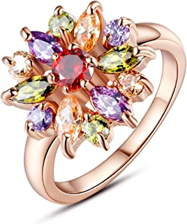 BAMOER 18K White Rose Gold Plated Cubic Zirconia Snowflake Flower Ring for Women Girls CZ Jewelry Fashion Flower Ring 3 Style