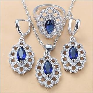 طقم مجوهرات زركون مكعب للنساء هدية مجوهرات للنساء يانجين (اللون: أزرق، 3 قطع، الحجم: 7)