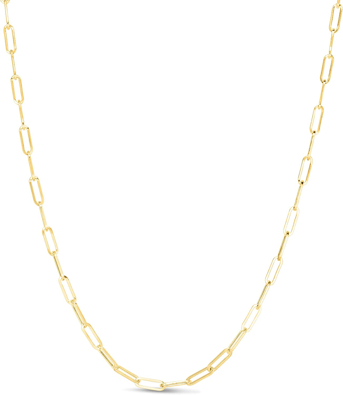MCS Jewelry 14k Yellow Gold Paperclip Link Chain Necklace 3.3 mm (16