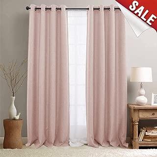 jinchan Pink Curtains for Living Room Darkening Grommet Curtain Panels Blackout Drapes for Bedroom, 2 Panels (95