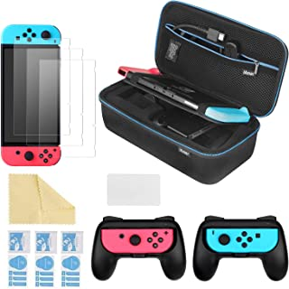 iAmer 6 en 1 Accesorios para Nintendo Switch,Funda para Nintendo Switch,Mandos Joy-con para Nintendo Switch,3 Protectores ...