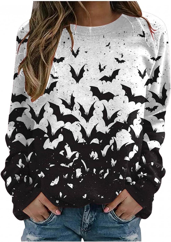 Womens Fall Tops T-Shirt,Womens Fashion Halloween Bat Printed Long Sleeve T-Shirts Comfy Graphic Tee Loose Sweatshirts Top