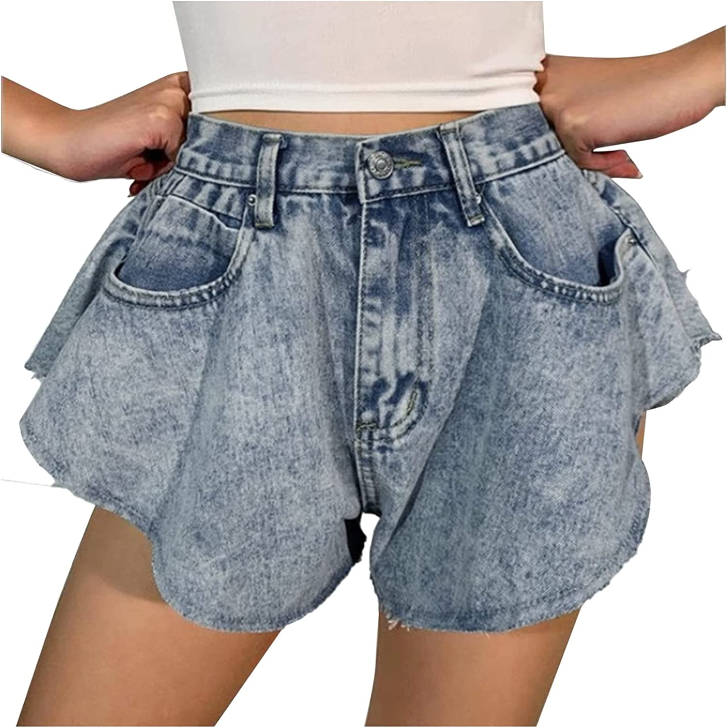 Fashion Denim Shorts for Women High Waisted Ruffle Distressed Jeans Shorts Solid Color Ripped Pockets Loose Hot Pants