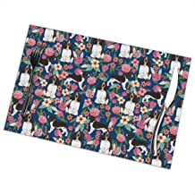NiYoung Stain Resistant Placemat, Set of 6, Durable Heat Insulation Tablemats, Dining Mats for Dining Table, English Springer Spaniel and Retro Floral Kids Placemats, 12x18 inch